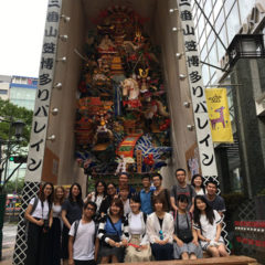 In front of Yamakasa decoration in 2017